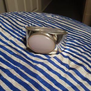 1970's silver tone cuff w/ pink oval